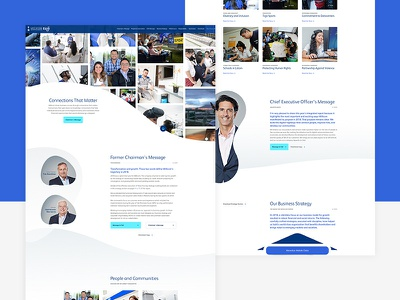Completed Annual Report webdesign website one page site infographics animations z-index shapes organic web ui ux blue design