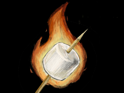 Flaming Marshmallow #1 smores food fire marshmallow camping illustration