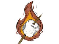 Woodcut Marshmallow #3 smores marshmallow fire childrens illustration camping woodcut linoleum illustration