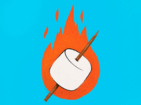 Flaming Marshmallow #4 food smores marshmallow fire childrens illustration camping illustration