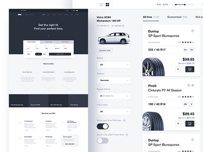 ecommerce: car services wireframe 🚙 modern clean tires wheels car shop ecommerce landing wireframe wire