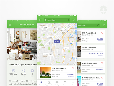 🏠 onerent – renter app green map ux ui product mobile list ios interface clean application app