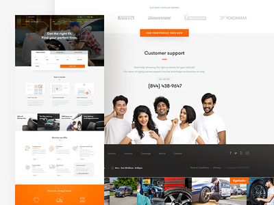 zohr - mobile tire service 🚗🔧 car layout ux ui web orange landing tires ecommerce