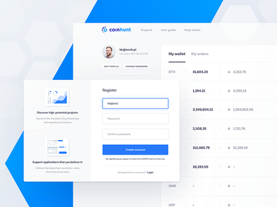 coinhunt dashboard tonik ux ui blue modern simple light blockchain bitcoin cryptocurrency profile dashboard