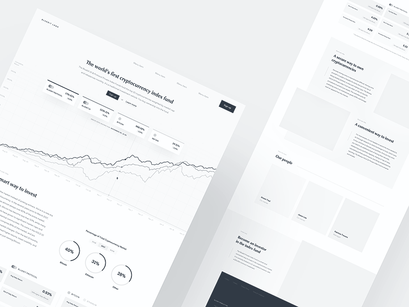 crypto fintech wireframes minimal stats blockchain bitcoin fund investment cryptocurrency landing wireframe wire