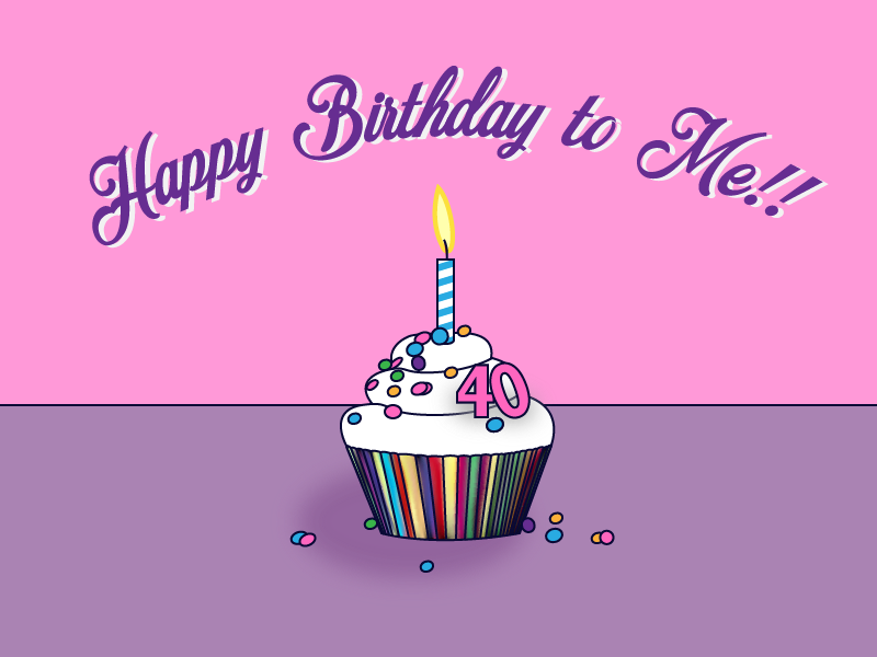 Happy Birthday to Me! freebie illustrator cupcake happy birthday
