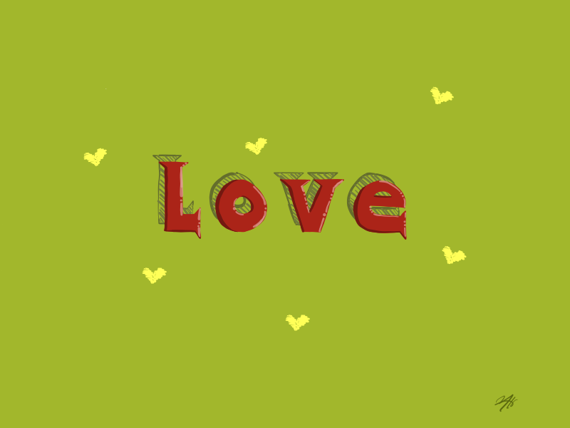 Trying to learn lettering... lettering love hearts