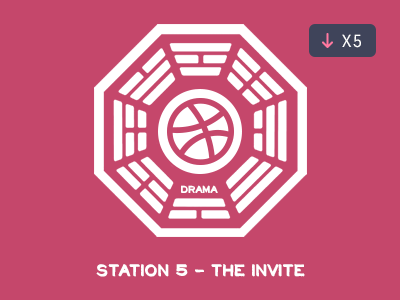 "Staion 5 - ""The Invite"" dribbble invites lost flat design brand"