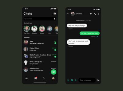 Whatsapp Redesign Concept [Dark Mode]