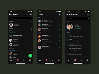 Whatsapp Redesign Concept Part II [Dark Mode]