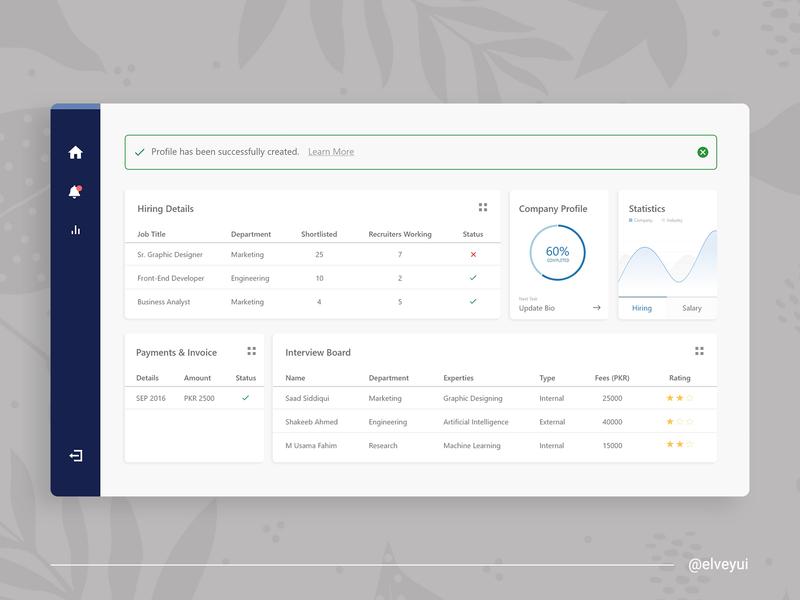 Employee Managment - Dashboard Design web app management employee dashboard flat minimal ui design app