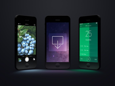 side by side iphones.psd iphone magic ios template psd straight render light spot glow reflection black