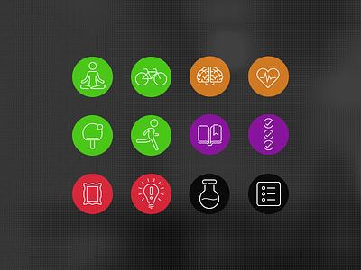 megavita icons run cycle brain heart book lab picture frame tennis yoga bulb idea