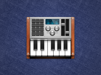 electronique icon genre music electronic synth synthesizer techno beats piano wood dial slider keys buttons display metal shiny