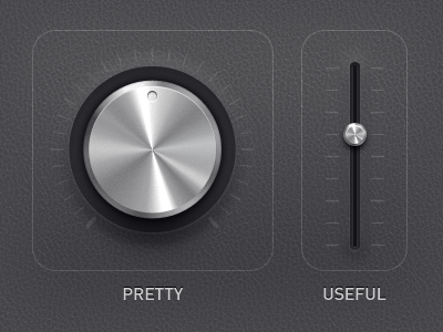 pretty vs useful dial leather shiny ios control drag touchscreen ui user easy confusing dark