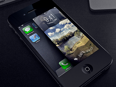 fold to unlock ios style iphone unlock fold ios photo tilted lockscreen lock gesture homescreen