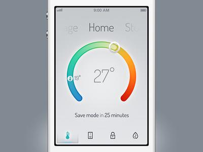viva home heat temperature automation home space graph icon ios controller celsius fahrenheit soft radial slider gradient rainbow
