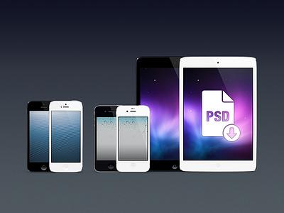 iPhones & iPad minis PSD psd template ipad mini iphone slate black white ios 1024x768 640x960 640x1136 retina