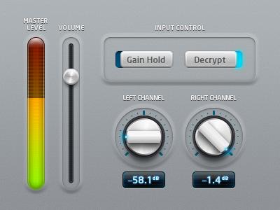 audio UI knob slider level meter volume switch turn light indicator metal circular round shiny cyan glow chrome blue