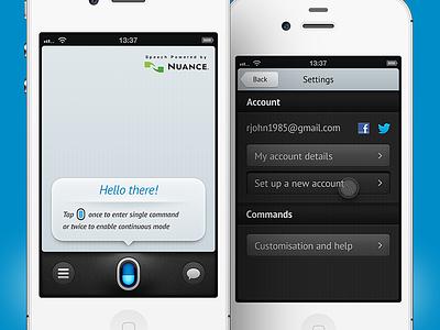 voice app application iphone settings voice siri speech recognition blue menu bubble nuance yeah