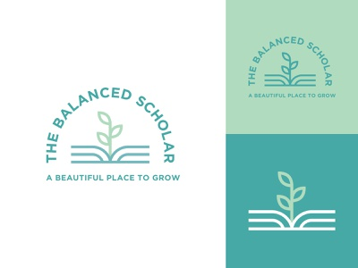 The Balanced Scholar grid symmetry gotham sprout book green teal branding logo growth outline line art balance scholar