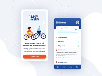 Ride n' Seek poppins summer bike ride bike clean illustration ux app minimal logo ui