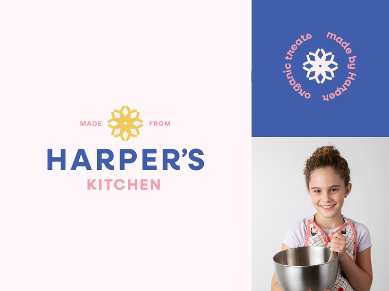 Harper's Kitchen purple pink kitchen cooking kids brand identity simple clean flower logo branding treats baking