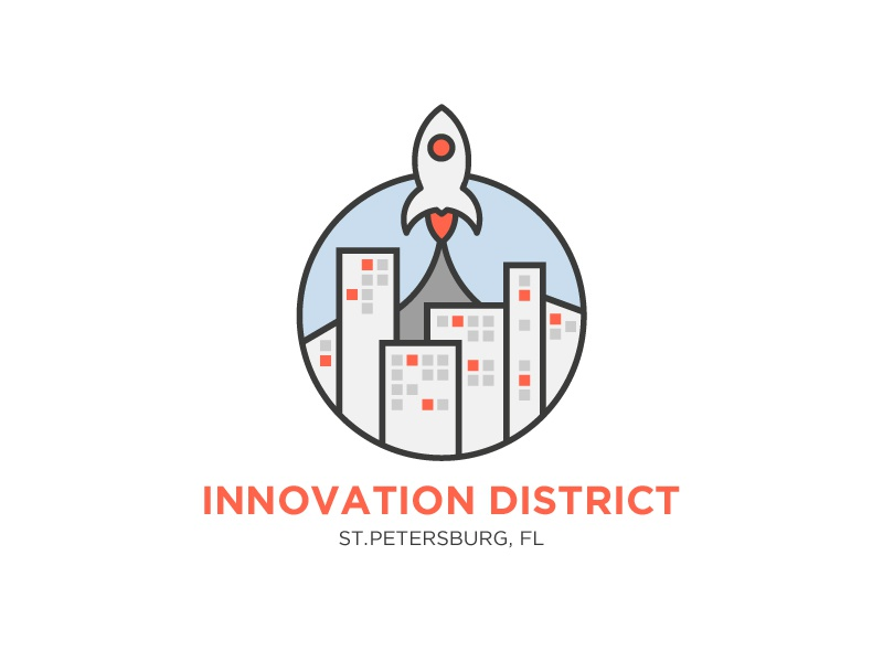 Innovation District Option 3 logo innovation city rocket circle buildings coral
