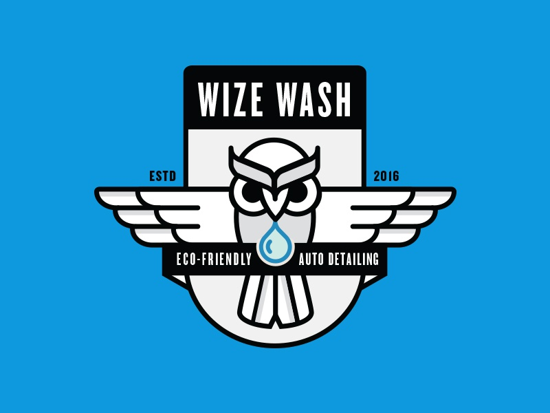 Wize Wash logo knockout wings outline eco friendly car wash badge owl
