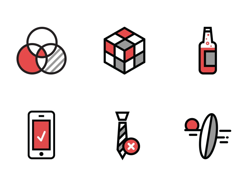 My Icons rubiks cube portfolio simple minimal iphone tie bottle soda surf line art outline icons
