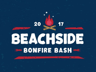 Beachside Bonfire Bash camping star rustic texture event logo red blue beach bonfire fire
