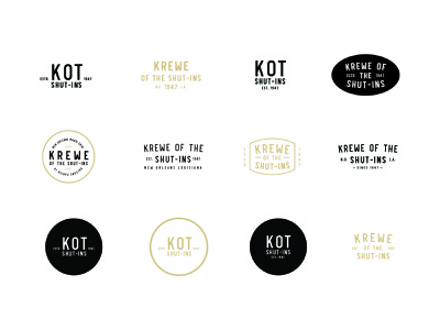 KOT - Krewe of the Shut-Ins new orleans gold black circle grunge retro branding logo mardi gras vintage