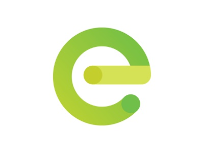 E minimal mark lime green perspective 3d gradient logo letter e e