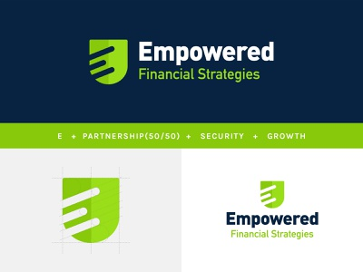 Empowered strategy financial growth branding green lime shield logo