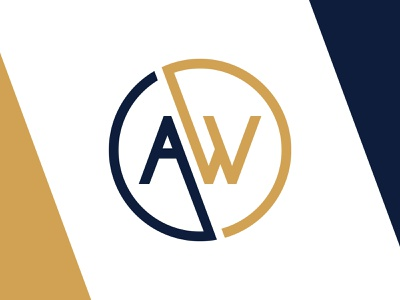 AW Exploration navy symmetry grid gold branding logo line art circle aw w a