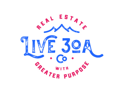 Live 30A blue red branding vintage mountains waves real estate texture retro badge logo