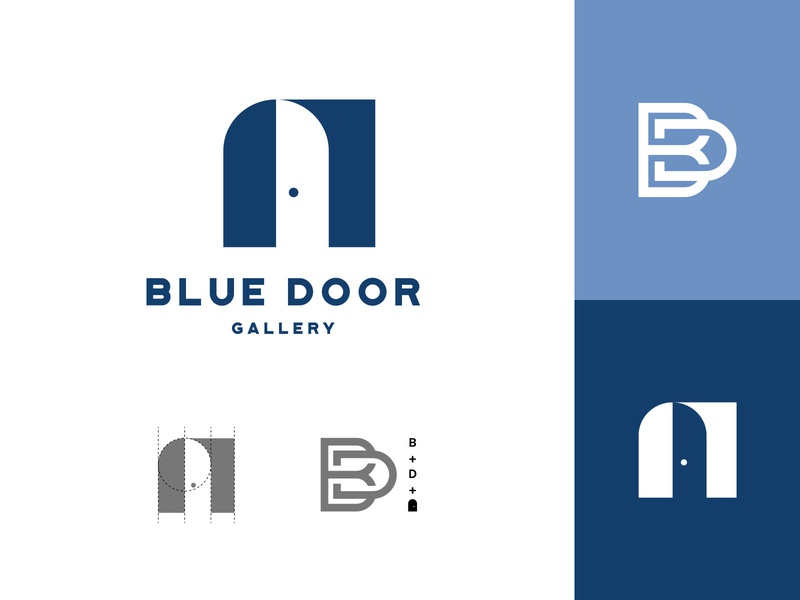 Blue Door symmetry monospace monogram bd blue branding logo grid negative space door