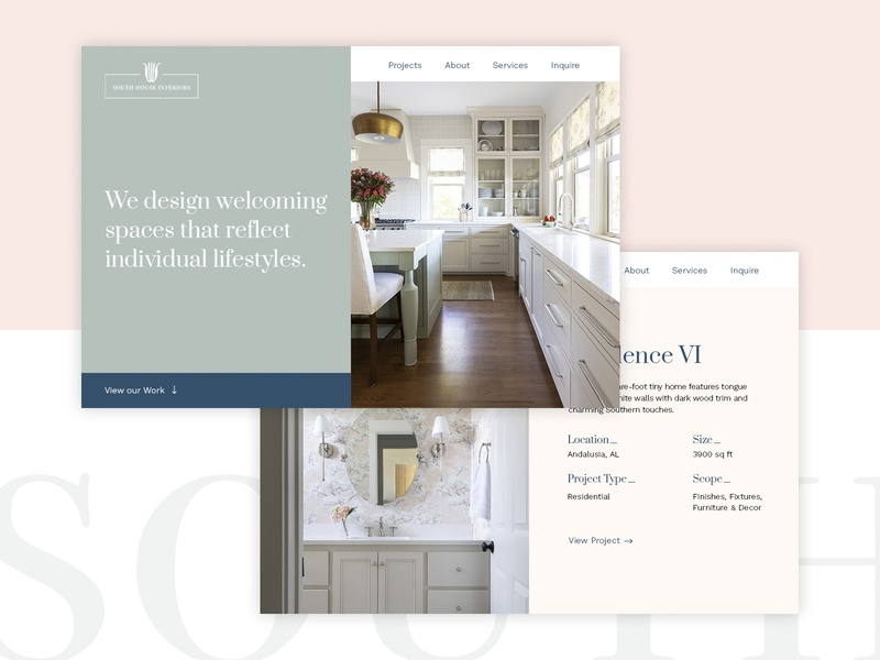 South House Interiors website design southern modern minimal layout ui interior design web design websites