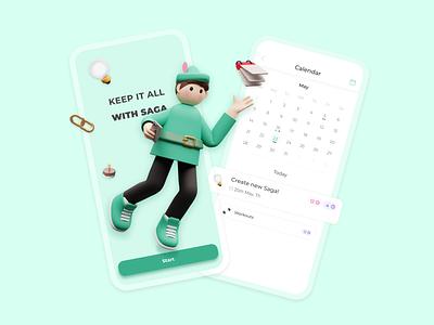SAGA Notes Character ios schedule app schedule planner app planner planning notes widget 3d modeling character 3d todo notes illustration notes app design app ui ux figmadesign figma