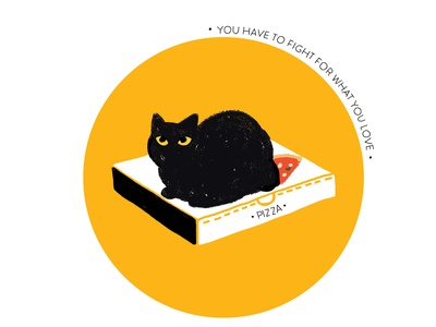 The one with cat on pizza.