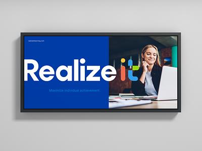Realizeit tech logo wordmark glyph elearning logo