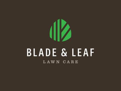 Blade & Leaf brown blade landscaping green grass leaf lawn care logo