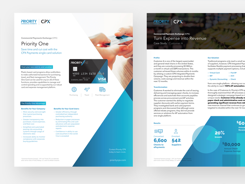 CPX Communications Work blue website sell sheets marketing cpx finance payments branding