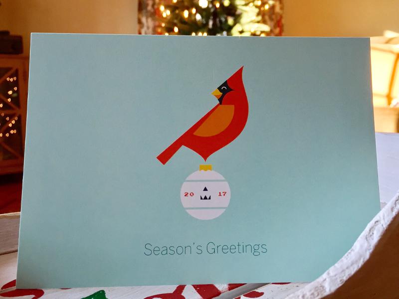 Xmas Card 2017 seasons greetings ornament cardinal 2017 holidays card christmas xmas