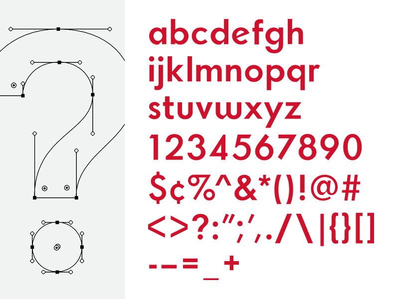 Typeface; All Characters sans serif typography custom font type