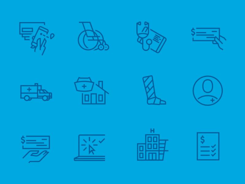 Health Insurance Icons outline hospital accident healthcare health insurance icons