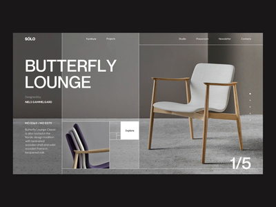 SÓLO Concept Furniture Design Studio Page web design interior furniture studio animation golden ratio ux ui style minimal interface design concept