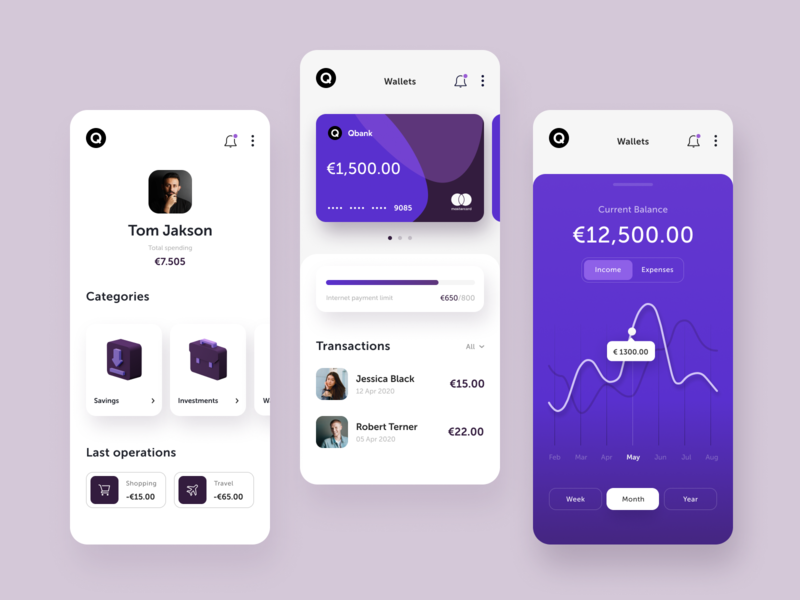 Qbank Banking App webdesign concept money mobile finance colorful buisness web design ux ui app design app