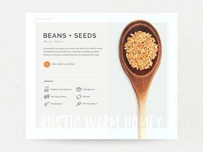 Ingredients Product Page natural rustic food button typography texture