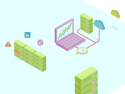 Isometric illustrator isometric grid vector stats laptop cloud